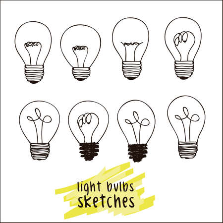 light bulb low: illustrations of different styles of bulbs isolated on white background