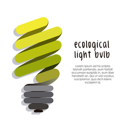 ahorro energia: ilustraci�n de la bombilla aislada en el fondo blanco Vectores