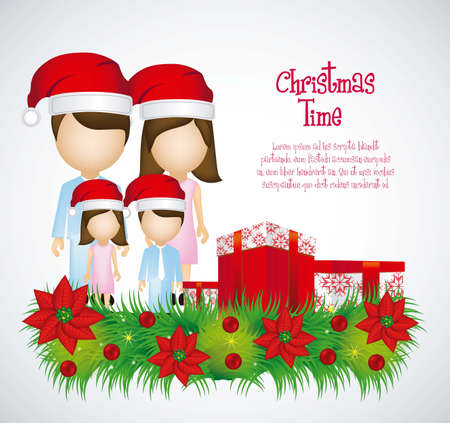 illustration of a family Christmas with Christmas hats Stock Vector - 14785982