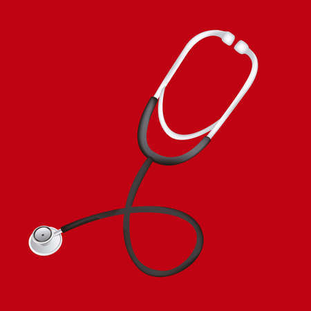 Illustration of stethoscope isolated on red background, vector illustration Stock Vector - 14785277