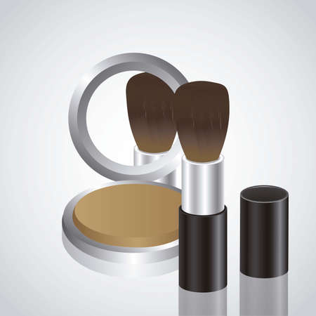 Illustration of makeup, compact powder with a brush Vector