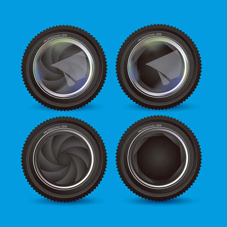 Illustration of camera lens isolated over blue background,  illustration