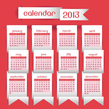 Illustration calendar 2013, with ribbons on origami,  illustration Stock Vector - 15191209
