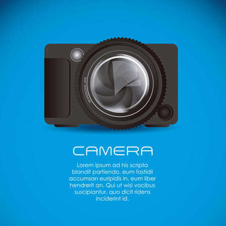 Illustration of lens camera and professional camera isolated on white background,  illustration