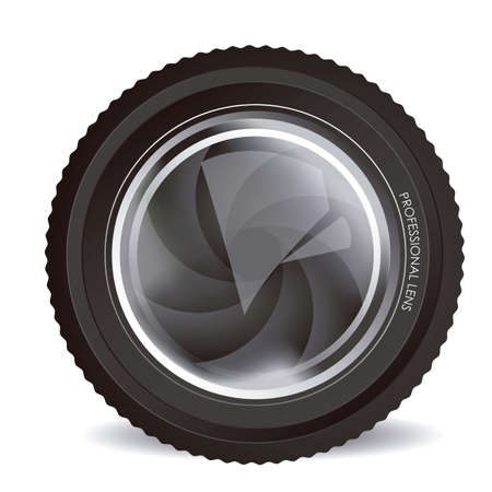 Illustration of camera lens isolated on white background, illustration