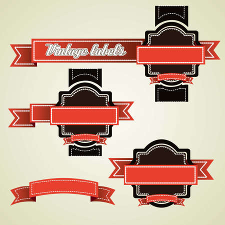 Illustration of vintage labels brown and orange isolated on beige background, vector illustration