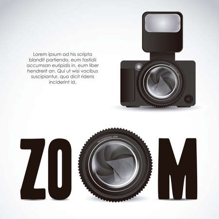 photographic: Illustration of zoom lens camera and professional camera isolated on white background,  illustration