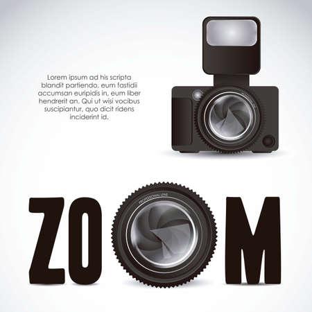 při pohledu na fotoaparát: Ilustrace zoom objektivu kamery a profesionální kameru na bílém pozadí, ilustrace