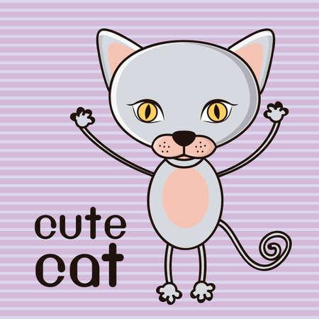 Illustration of a cute cat background,  illustration Illustration