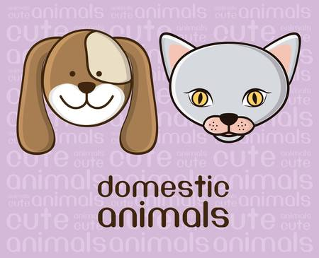 Illustration of a cute cat and a dog background Stock Vector - 15191072