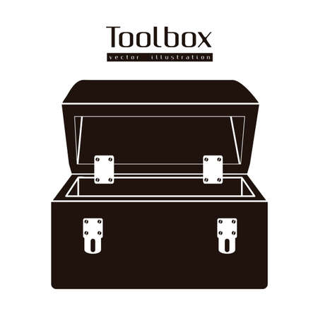 Illustration of silhouette of a tool box isolated on white background, illustration
