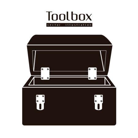 Illustrazione della silhouette di una cassetta degli attrezzi isolato su sfondo bianco, illustrazione