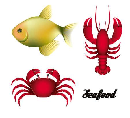 Illustration of sea animals, fish, crab and lobster, illustration