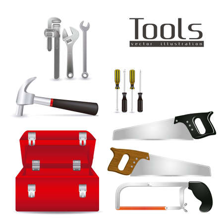 Illustration of tools, with a pipe wrenches, hammer, hacksaw, screwdrivers, hand saw and tool box,  illustration  Vector