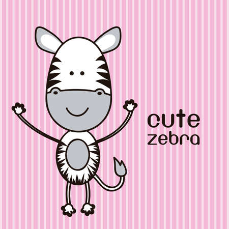Illustration of a cute zebra background, illustration Vector