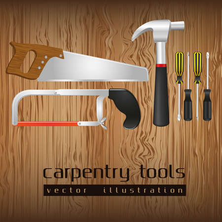 carpentry tools, with a pipe wrenches, hammer, hacksaw, screwdrivers, hand saw and tool box,  illustration Vector
