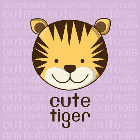 Illustration of a cute tiger background, vector illustration Vector