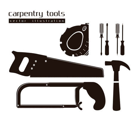 sawing: silhouettes of tools, with a pipe wrenches, hammer, hacksaw, screwdrivers, hand saw and tool box,illustration