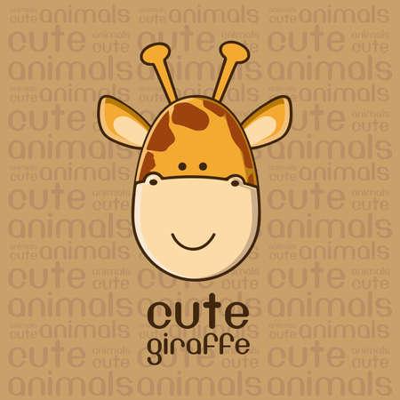 jirafa cute: Ilustraci�n de un fondo lindo jirafa, ilustraci�n