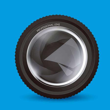 hypocenter: Illustration of camera lens isolated on blue background,  illustration Illustration