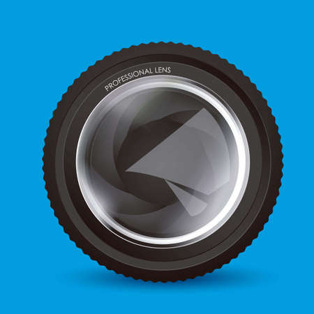 Illustration of camera lens isolated on blue background,  illustration Illustration