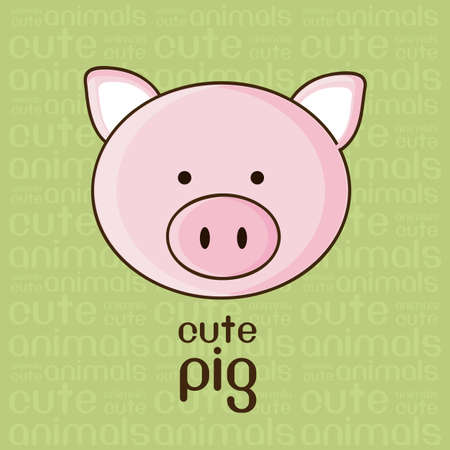 Illustration of a cute pig background,  illustration Vector