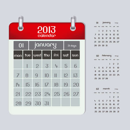 2013 calendar illustration rings, three months January, February and March,  illustration Vector