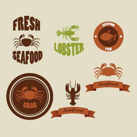 crustaceans: Illustration of vintage labels seafood isolated on beige background,  Illustration