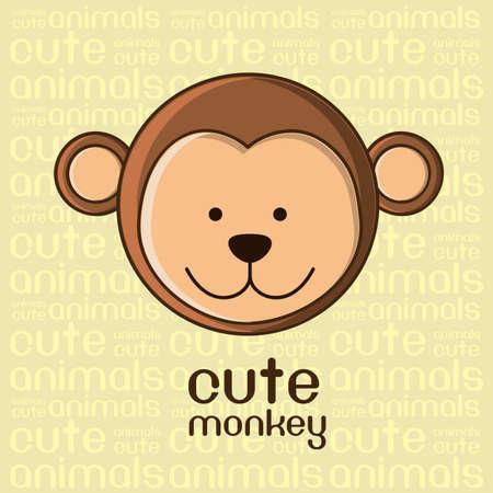 singes: Illustration d'un fond singe mignon, illustration Illustration