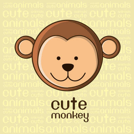 Illustration of a cute monkey background,  illustration Vector