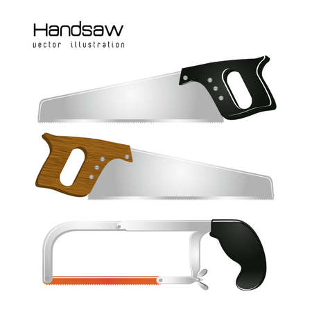 Illustration of handsaw and hacksaw isolated on white background,  illustration Vector