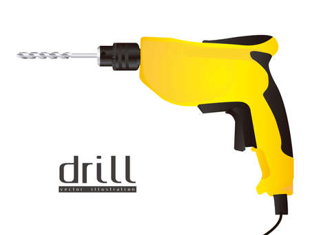 drill bit: Illustration of a drill isolated on white background, illustration Illustration