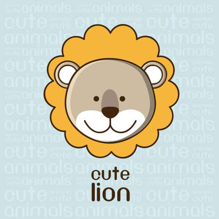 whole creature: Illustration of a cute lion background, illustration Illustration