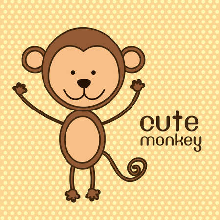 sympathetic: Illustration of a cute monkey background,  illustration