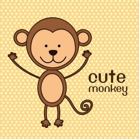 Illustration of a cute monkey background,  illustration Stock Vector - 15205741