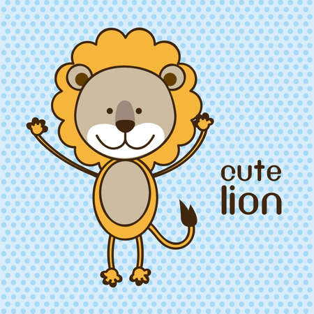 Illustration of a cute lion background,  illustration Vector