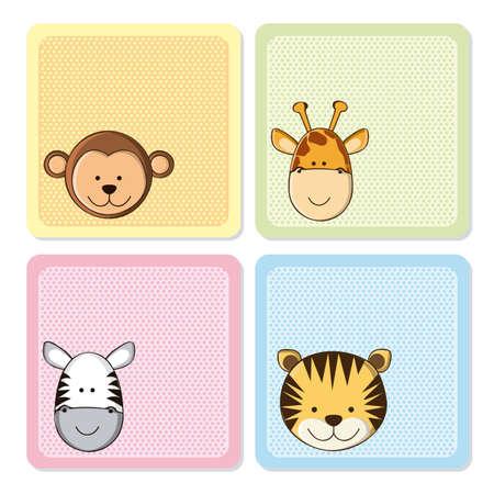 cute: Illustration eines niedlichen Affen, Tiger, Giraffen und Zebras, illustration