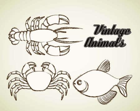 Illustratie van zeedieren, vis, krab en kreeft, illustratie