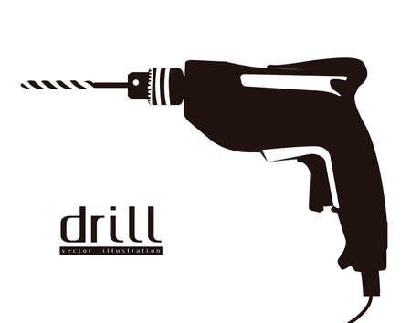 drill: Illustration of silhouette of a drill isolated on white background, illustration