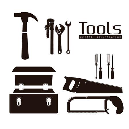 seghetto: silhouette di strumenti, con una pinza, martello, seghetto, cacciavite, sega a mano e cassetta degli attrezzi, illustrazione Vettoriali