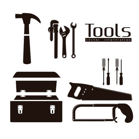 box cutter: silhouette of tools, with a pipe wrenches, hammer, hacksaw, screwdrivers, hand saw and tool box,  illustration