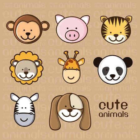 cartoon m�dchen: Illustration eines niedlichen Schwein, Affe, Tiger, L�wen, Giraffen, Panda, Zebra und Hund, Illustration Illustration