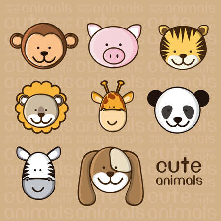 tigre caricatura: Ilustraci�n de un cerdo lindo, mono, tigre, le�n, jirafa, panda, cebra y el perro, ilustraci�n
