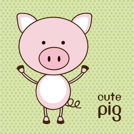 whole creature: Illustration of a cute pig background, illustration