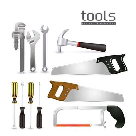 Illustration of tools, with a pipe wrenches, hammer, hacksaw, screwdrivers, hand saw and tool box,  Vector