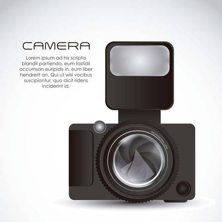 hypocenter: Illustration of lens camera and professional camera isolated on white background,  illustration