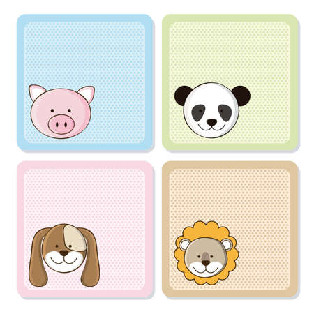 whole creature: Illustration of a cute pig,  lion, panda and dog,  illustration Illustration