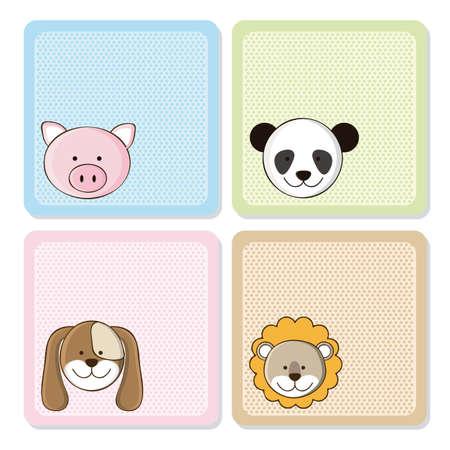 Ilustración de un cerdo lindo, león, panda y el perro, ilustración Ilustración de vector