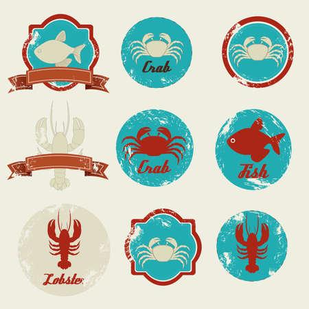 lobster isolated: Illustration of vintage labels seafood isolated on beige background,  illustration Illustration