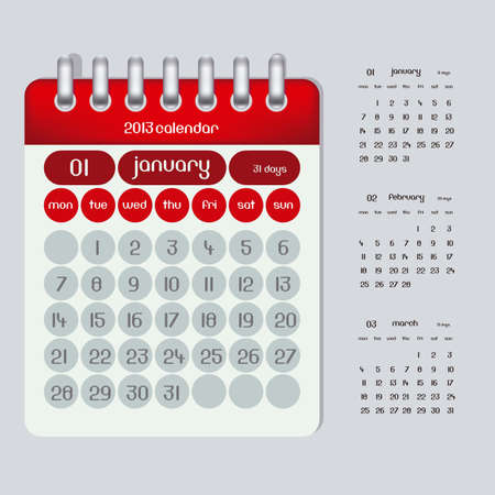 2013 calendar illustration rings, three months January, February and March,  illustration Stock Vector - 15191146